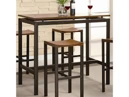 black finish pub table and two swivel bar stools set in small bar