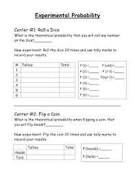 experimental probability pdf math pinterest math and