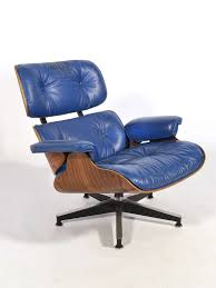 rare eames 670 lounge chair with cobalt blue leather by herman