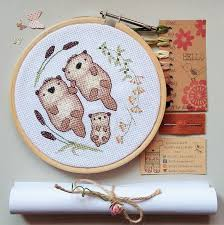 cross stitch kit otters otters holding hands diy cross