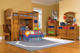 Built In Bedroom Furniture Blue Bed Linen On Brown Wooden Bunk Bed Built In Stair And Drawers