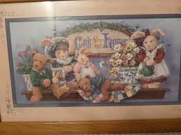 vintage home interiors god bless our home bunnies bears picture