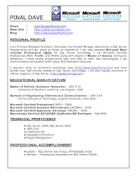 Sample Dba Resume by Sql Fresher Resume Free Resume Example And Writing Download