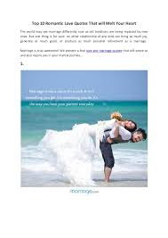 Romantic Marriage Quotes Top 10 Romantic Love Quotes That Will Melt Your Heart