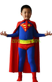 superman costume for kid red and blue spandex lycra zentai suit