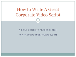 how to write a great corporate video script