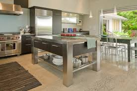kitchen island metal kitchen stainless steel island table on for 28 with regard to