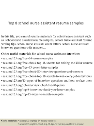 nursing assistant resume exles top 8 school assistant resume sles 1 638 jpg cb 1436109267