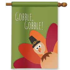 gobble gobble silly sideways thanksgiving turkey garden flag