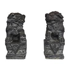 foo dog statues pair of vintage cast foo dog statues