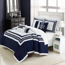 Black And Blue Bedding Sets Navy Blue And White Comforter Set With Geometrical Borders Accent