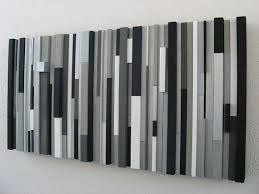custom modern wood wall sculpture black white greys silver by