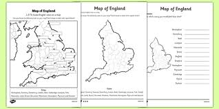 english cities on a map differentiated worksheet