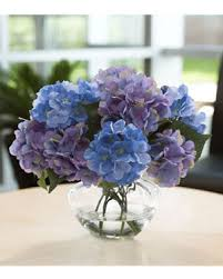 silk hydrangea hydrangea in glass vase silkflowers