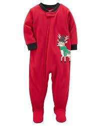s 1 zip up deer applique footed pajama toddler