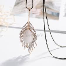 leaf pattern necklace clothing accessories necklace long leaf pattern crystal womens