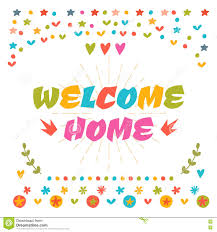 welcome home text with colorful design elements cute greeting c