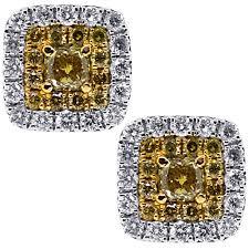womens stud earrings canary diamond square stud earrings 14k white gold 0 98 ct
