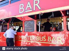 route master double decker bus transform into a mobile bar stock