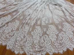 wedding dress fabric vintage chantilly eyelash fabric in white for wedding gown