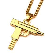 aliexpress buy nyuk new fashion american style gold nyuk gold chain pistol pendant unisex submachine gun pendant chain