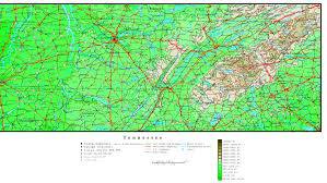 Map Of Nashville Tennessee by Tennessee Elevation Map