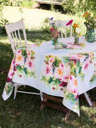 peony watercolor tablecloth linens kitchen tablecloths