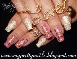 golden hearts beautiful bps bling 3d nail art tutorial youtube