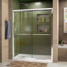 frameless glass doors for showers frameless bypass sliding shower doors showers the home depot