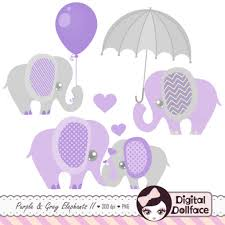 purple elephant baby shower decorations purple and grey ba shower elephants clipart digital intended for