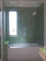 bathtub glass door 105 0 custom double tub screen with fixed wall brackets jpg 575