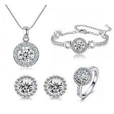 zircon necklace sets images Sti jewels round cut cubic zircon jewelry sets silver jpg