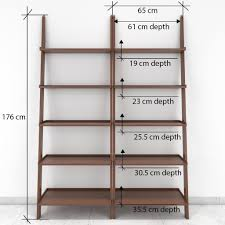 jasper leaning wall bookcase set of 2 ladder shelf brown