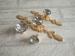 Glass Kitchen Cabinet Knobs Drawer Knobs Pulls Handles Rhinestone Gold Clear Dresser Knobs