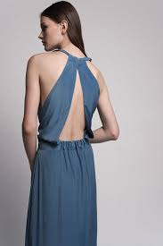 blue maxi evening dress with an open back bridesmaid dress on