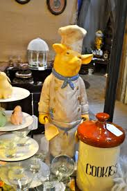 Pig Kitchen Canisters Large Chef Pig With Wooden Kitchen Utensils 55 Dollars