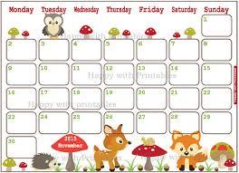 printable art calendar 2015 calendar november 2015 printable woodland by happywithprintables
