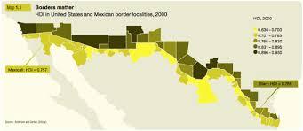 map usa mexico border the map room human development index along the u s mexico border