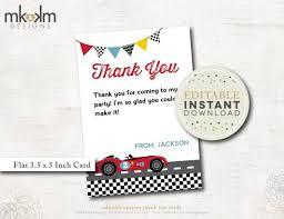 editable thank you card race car birthday race car thank you
