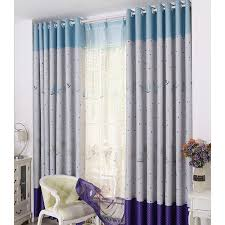 Blue Nursery Curtains Purple And Blue Polyester Natural Pattern Thermal Blackout Nursery