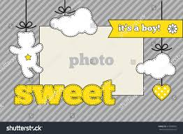 baby shower invitation template gray yellow stock vector 219596095