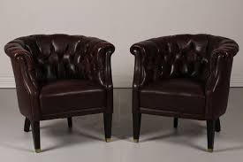Danish Leather Armchair Danish Chesterfield Dark Brown Leather Armchairs 1920s Set Of 2