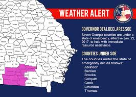 Georgia Counties Map Deal Declares State Of Emergency For Seven South Central Georgia