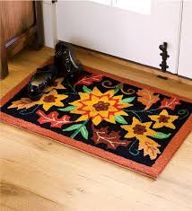 machine washable fall floral hooked accent rug kitchen rugs