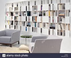 wall bookcase home library contemporary interior design stock