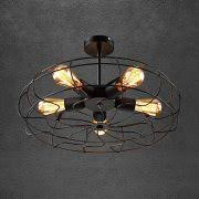 industrial style ceiling lights 5 head electric fan retro industrial style iron cage ceiling light