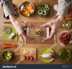 Kitchen Table Close Up Man Holding Smart Phone Hands Close Stock Photo 271173785