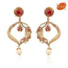 golden earrings traditional golden earrings at rs 840 earrings vivah