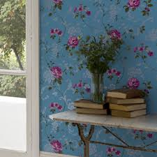 Wallpaper For Walls Teal And Pink Northern Rose Blue And Pink Wallpaper Graham U0026 Brown