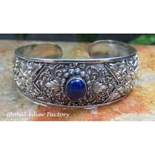 sterling silver cuff bangle bracelet images Large sterling silver lapis lazuli bali hammered cuff bangle jpg